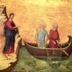 Jésus appelle Pierre et André, peinture de Duccio, Sienne XIIIe siècle