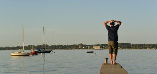 Un homme en bord de mer se tient la tête et regarde l'horizon - Image par Ximena-c de Pixabay