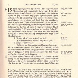 page de l'évangile selon Matthieu en grec (Nestlé Aland)