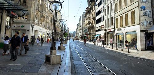 La rue du Rhône à Genève