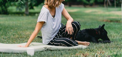 Une femme, avec son chien est assise dans l'herbe d'un parc - Image pareugene chystiakov de Pixabay