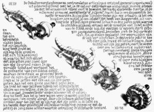 Dessin de Escher représentant un animal imaginaire entre un lézard et un scolopendre qui marche et s'enroule sur lui même sur un fond de texte.