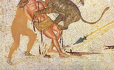 mosaïque du IIIe siècle représentant un homme mordu par un fauve - mosaïque du musée de Sousse