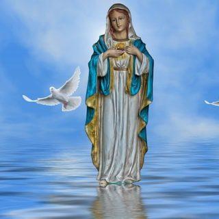 dessin d'apparition de la Vierge Marie sur une surface d'eau avec des colombes - Image par Susan Cipriano de Pixabay