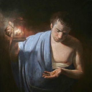 Homme dans la nuit, regardant deux pièces de monaie dans sa main, à la lueur d'une lanterne - Parable of the talents. 2013. Parable of the talents. 2013. Artist A.N. Mironov - wikicommons
