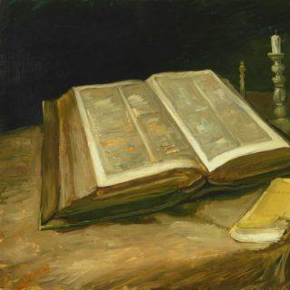 tableau de Vincent Van Gogh : nature morte avec une Bible, un chandelier et la joie de vivre de Zola - Van Gogh Museum, Amsterdam (Vincent van Gogh Foundation)