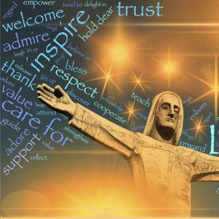 Une figure du Christ ouvrant largement les bras avec mes mots encourageant à la compréhension, l'empathie - Image parJohn Hain de Pixabay