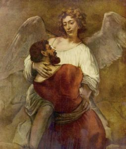 Lutte de Jacob avec l'ange, peinture de Rembrandt (1659)