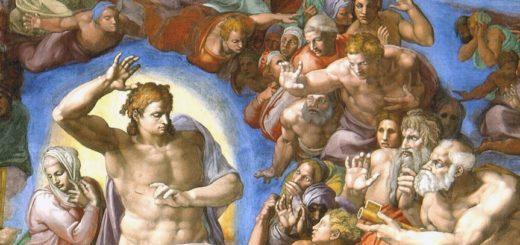 Peinture de Michelange à la chapelle Sixtine : le jugement dernier, extrait montrant le Christ