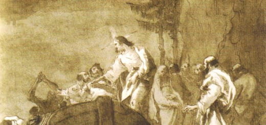 Extrait d'un dessin de Tiepolo représentant Jésus appelant les fils de Zébédée