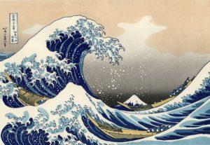 dessin japonais montrant une vague dominant une montagne - Image par WikiImages de Pixabay