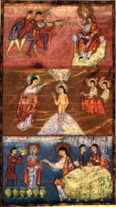 illustration ancienne représentant la vie de Jésus