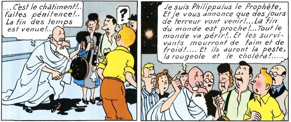 """deux cases de l'album """"L'Étoile mystérieuse"""" de Hergé © Editions Moulinsart"""